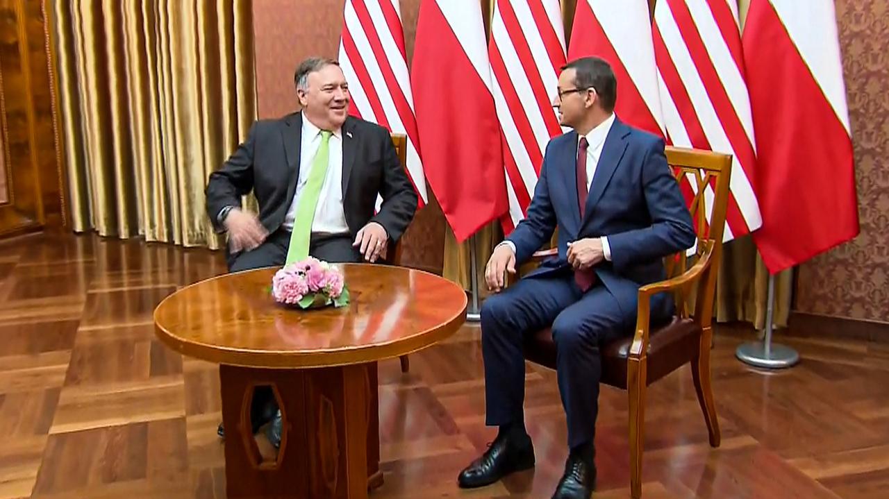 Sekretarz stanu USA Mike Pompeo w Polsce